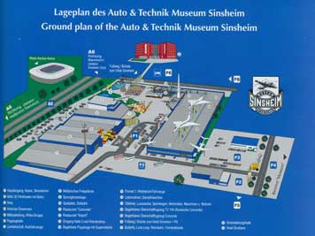 Map of the Auto & Technik Museum Sinsheim where the exhibits are displayed both in and outside