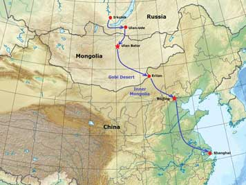 Map of China with the train route we took from Mongolia border town Erlian than to Beijing and finally Shanghai