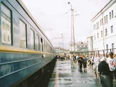 The platform of Kirov train station on the Trans Siberian route