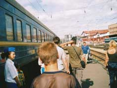 Trans Siberia Express passengers taking a walk in Krasnoyarsk