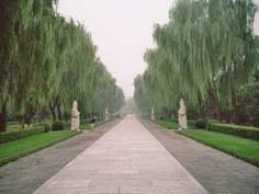 The Spirit way leading to the Ming Tombs flanked with statues