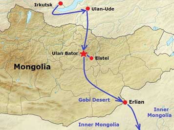 Map of Mongolia showing our train journey with the Trans Mongolian express from Russia, trough Mongolia to China