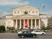 The world famous Bolshoi Theatre in the Moscow city centre