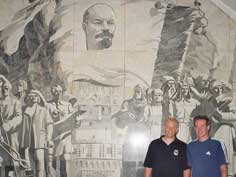 Wall painting with Lenin in Novokoeznetskaya Metro Station