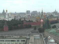 St. Basil's cathedral at the Red Square seen from Hotel Russia