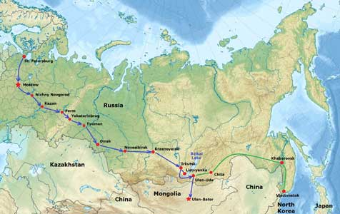 Map of Russia with the Trans Siberian Railway route we took in blue and the line we did not take in green