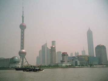 Shanghai Pudong business district on the bank of the Huangpu River