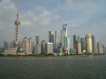 The Huangpu River and Pudong skyline with some of the largest skyscrapers in the world seen from the Shanghai Bund