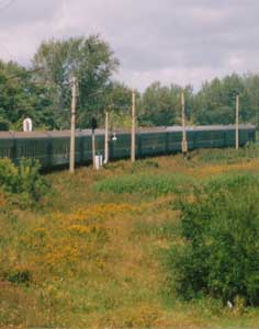 The Trans Siberia Express driving trough the Russian fields