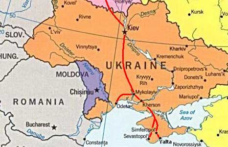 Map showing our 2006 journey trough Belarus and the Ukraine