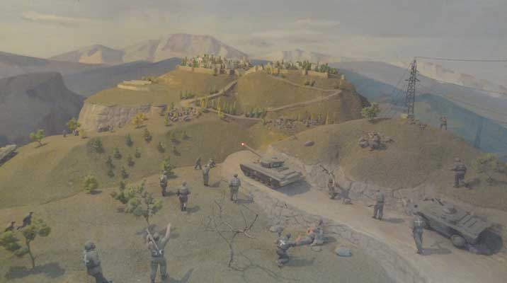 Diorama of the battle for Sushi, Armenian tanks and infantry managed to capture Sushi after to days of fighting