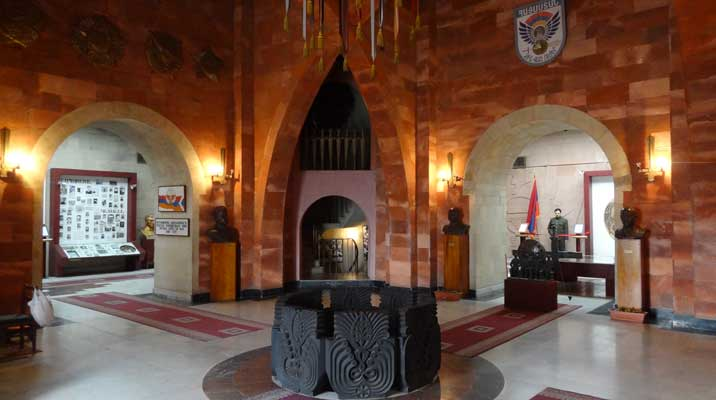 The Central hall of the Yerevan Military Museum inside the Motherland statue that has been untouched since Soviet times