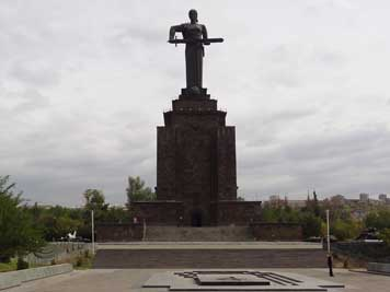 The Mother Armenia Monument with the Eternal Flame commemorating fallen Soviet Soldiers and Civilians during World War II