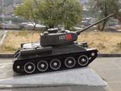 Word War II Red Army T-34/85 tank displayed outside the Yerevan Military Museum in Victory Park